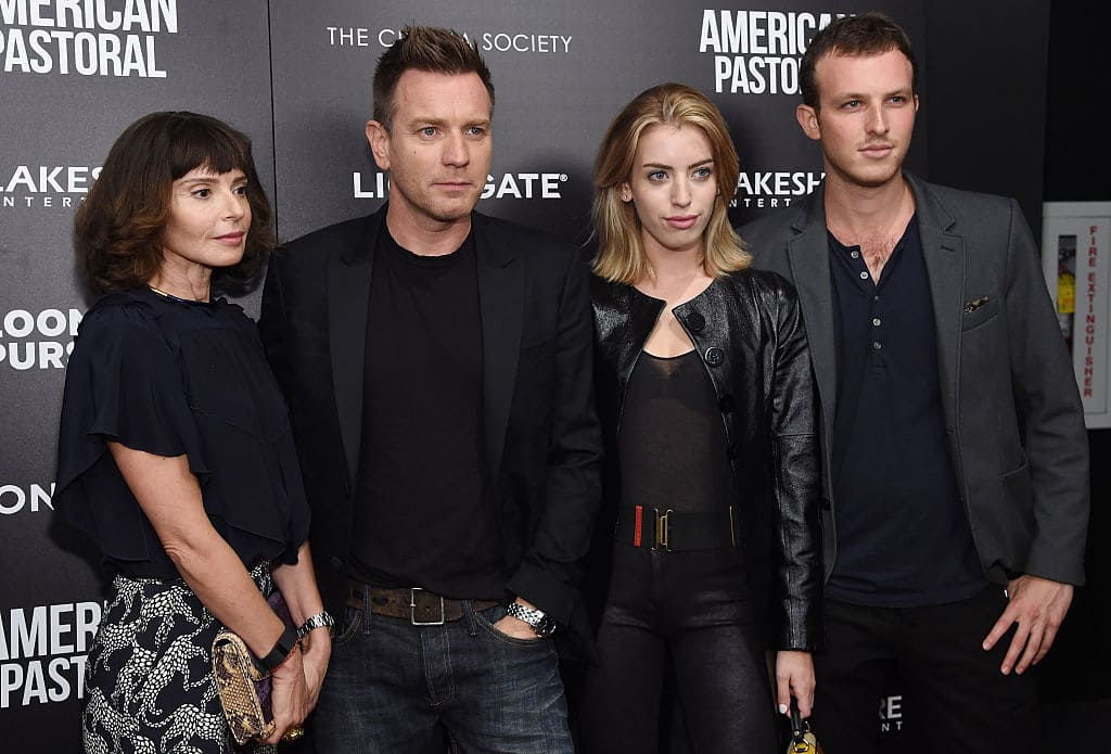 Ewan McGregor with Eve Mavrakis (left) and Clara Mathilde McGregor (second right) in New York City in 2016 (Photo by Jamie McCarthy/Getty Images)