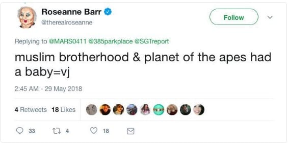 Roseanne later claimed that she wasin an Ambien-induced state when she posted the tweet