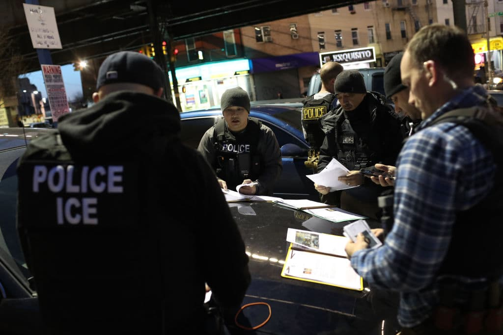 Immigration and Customs Enforcement (ICE) officers prepare for morning operations to arrest undocumented immigrants in New York City on April 11 (Getty Images)