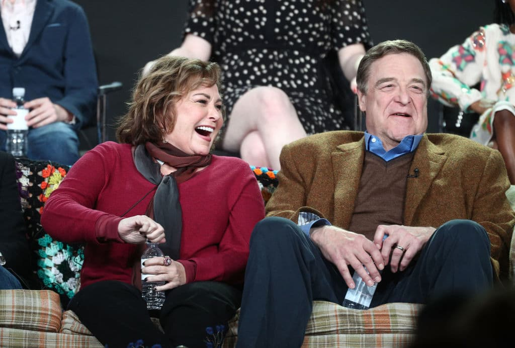ecutive producer/actress Roseanne Barr (L) and actor John Goodman of the television show Roseanne react onstage during the ABC Television/Disney portion of the 2018 Winter Television Critics Association Press Tour. (Getty Images)