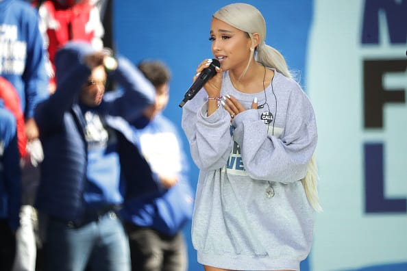 Ariana Grande performs 'Be Alright' during the March for Our Lives rally (Getty)