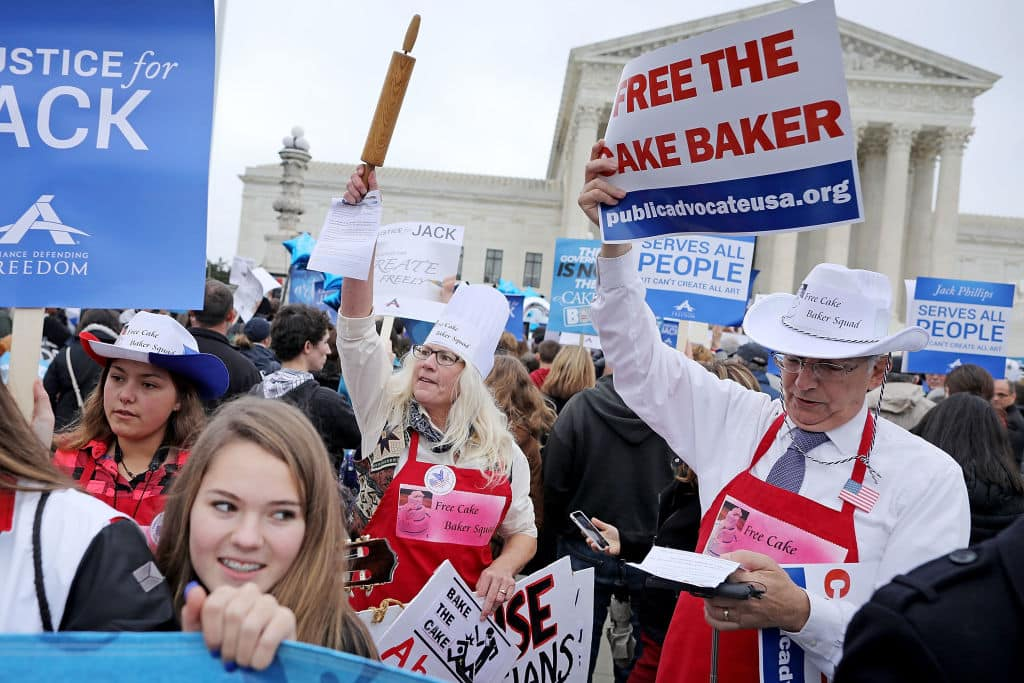 Demonstrators rally in front of the Supreme Court building on the day the court is to hear the case Masterpiece Cakeshop v. Colorado Civil Rights Commission December 5, 2017 in Washington, DC. (Getty Images)