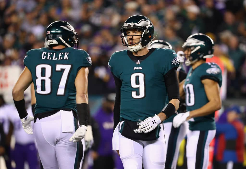Nick Foles #9 of the Philadelphia Eagles reacts against the Minnesota Vikings during the first quarter in the NFC Championship game at Lincoln Financial Field on January 21, 2018 in Philadelphia, Pennsylvania. (Getty Images)