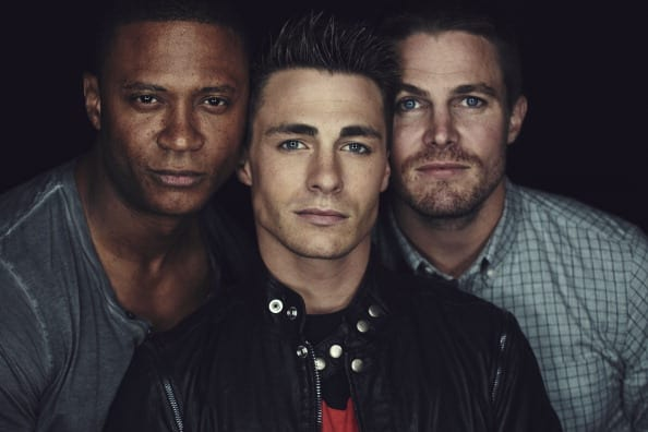 David Ramsey, Colton Haynes, and Stephen Amell of 'Arrow' attend Comic-Con International 2014 on July 26, 2014 in San Diego, California. (Photo by Smallz+Raskind/Warner Bros. Entertainment Inc. via Getty Images)