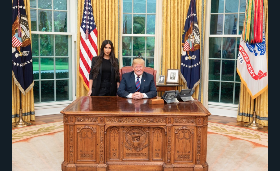Kim Kardashian pictured with President Donald Trump during the celebrity's visit to the White House. (Twitter)