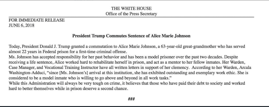 The statement released by the White House about Johnson's clemency. (Twitter)