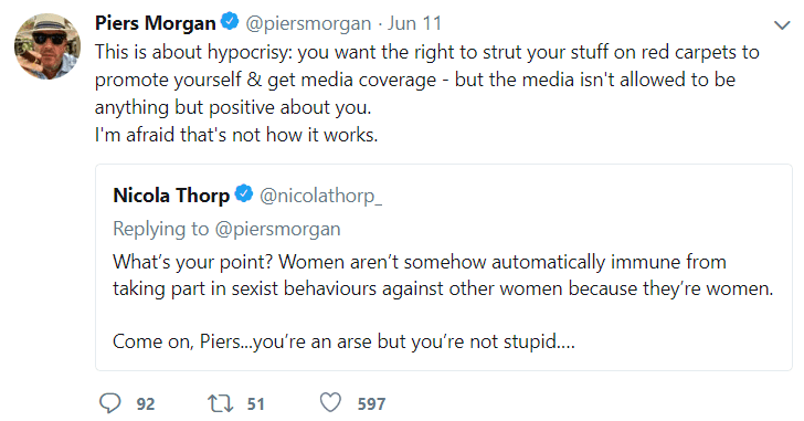 Nicola Thorp and Piers Morgan got into a heated argument over revealing red carpet outfits. (Twitter)
