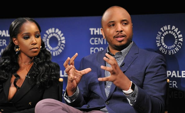 Justin Simien and actress Ashley Blaine Featherson speak onstage at An Evening With 'Dear White People' at The Paley Center for Media on June 5, 2018 in Beverly Hills, California. (Getty Images)