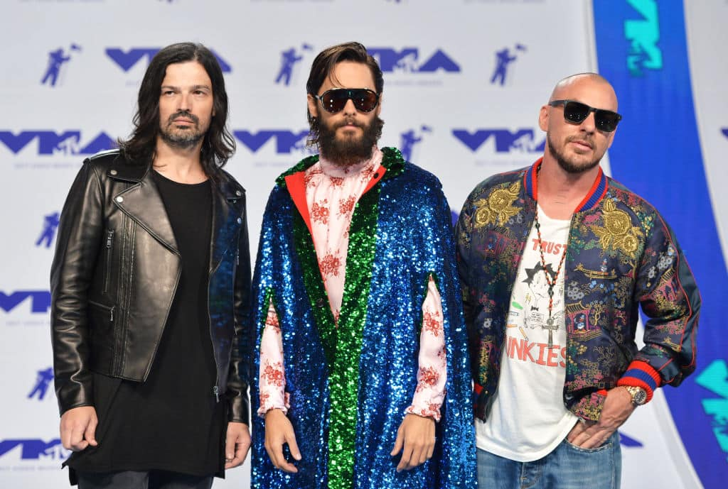 Tomo Milicevic, Jared Leto and Shannon Leto of Thirty Seconds to Mars attend the 2017 MTV Video Music Awards at The Forum on August 27, 2017 in Inglewood, California. (Photo by Alberto E. Rodriguez/Getty Images)