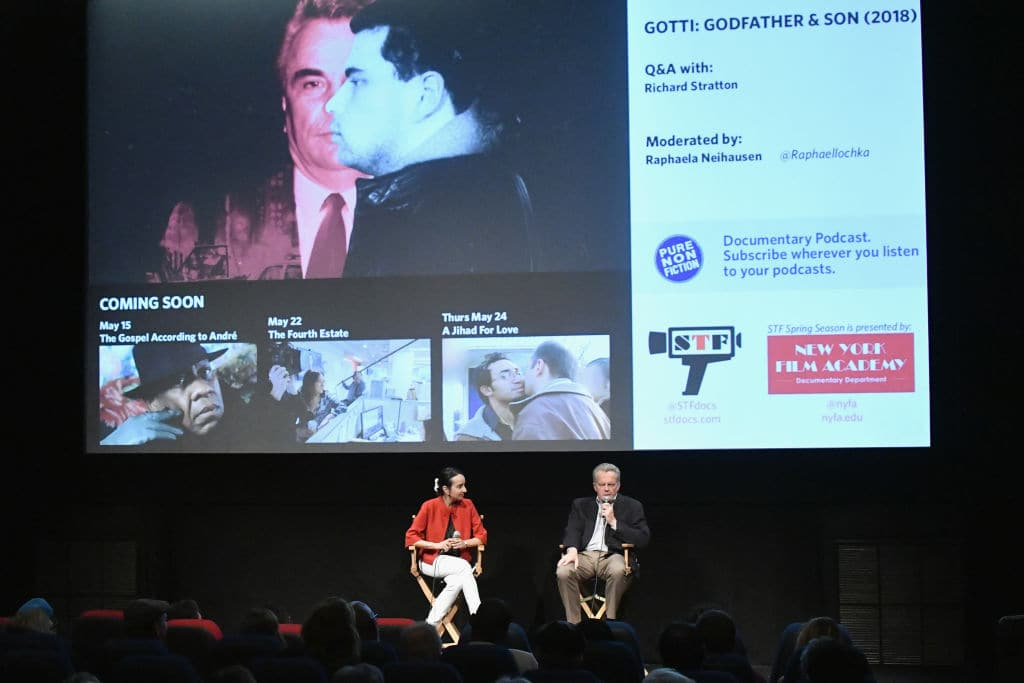 Moderator Raphaela Neihausen and Director Richard Stratton speak onstage as A&E hosts an exclusive screening of 'Gotti: Godfather & Son' airing June 9th and 10th on A&E at IFC Center on May 8, 2018 in New York City. (Photo by Mike Coppola/Getty Images for A&E Networks)