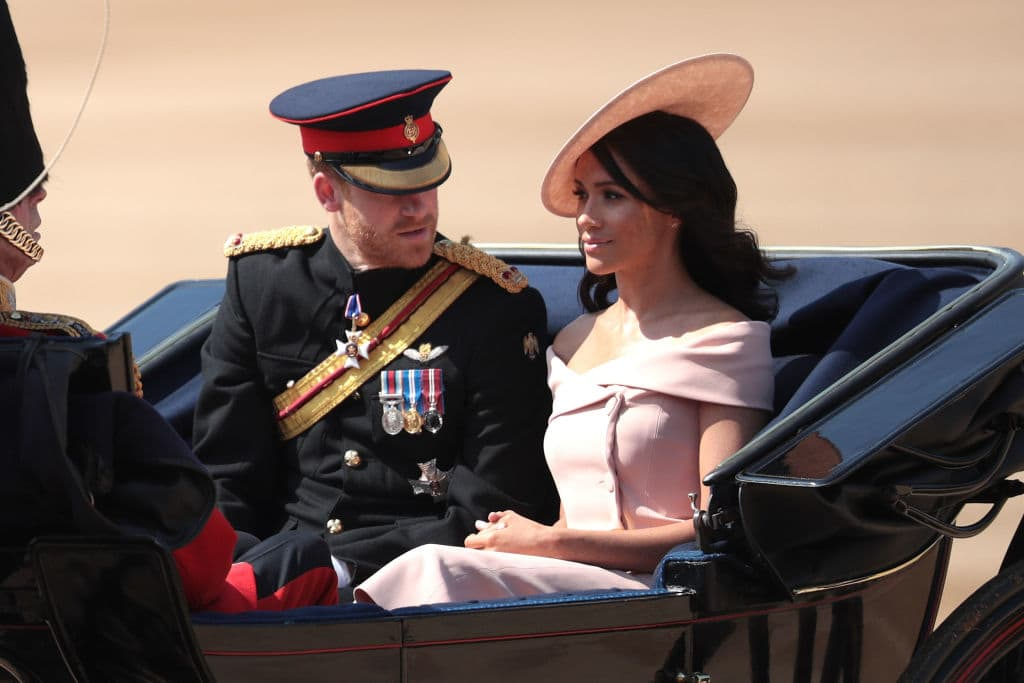 Meghan Markle made the headlines for her protocol-breaking, off-the-shoulder dress she wore at the year's Trooping the Colour celebration (Getty Images)