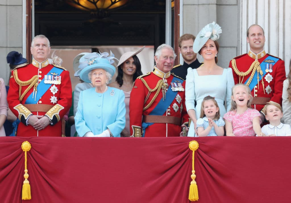 Princess Anne, Princess Royal, Princess Beatrice, Lady Louise Windsor, Prince Andrew, Duke of York, Queen Elizabeth II, Meghan, Duchess of Sussex, Prince Charles, Prince of Wales, Prince Harry, Duke of Sussex, Catherine, Duchess of Cambridge, Prince William, Duke of Cambridge, Princess Charlotte of Cambridge, Savannah Phillips, Prince George of Cambridge and Isla Phillips watch the flypast on the balcony of Buckingham Palace during Trooping The Colour (Source: Getty Images)