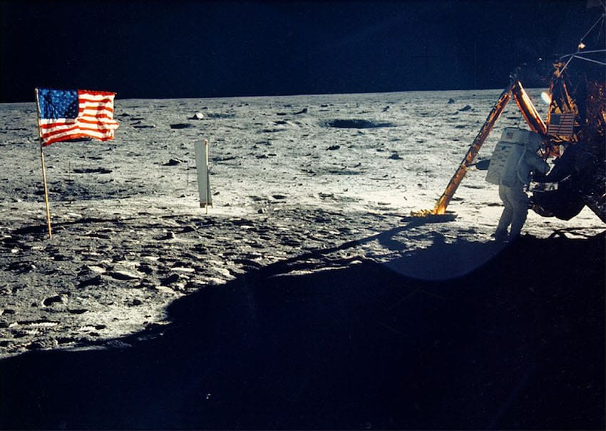 One of the few photographs of Neil Armstrong on the moon shows him working on his spacecraft on the lunar surface (Getty Images)