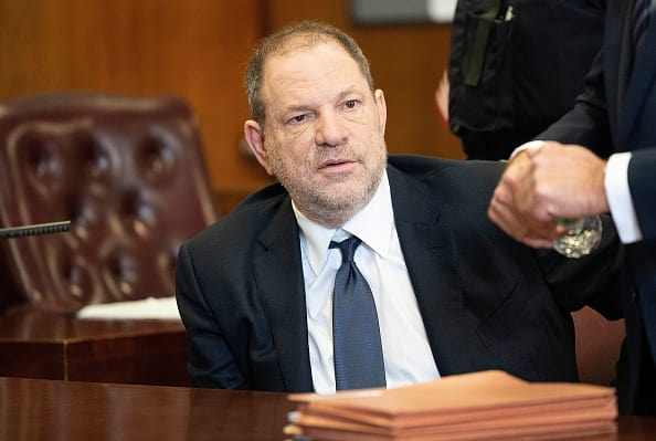 Harvey Weinstein has the allegations read out to him in a court (Source: Getty Images)
