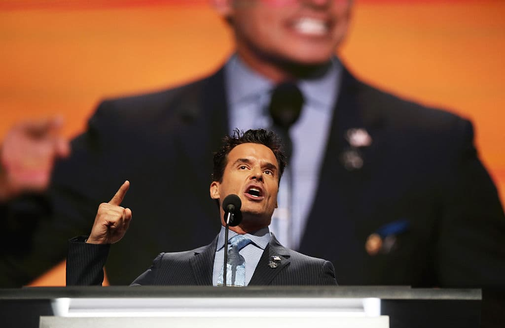 Antonio Sabato Jr. delivers a speech on the first day of the Republican National Convention on July 18, 2016 at the Quicken Loans Arena in Cleveland, Ohio (Getty Images)