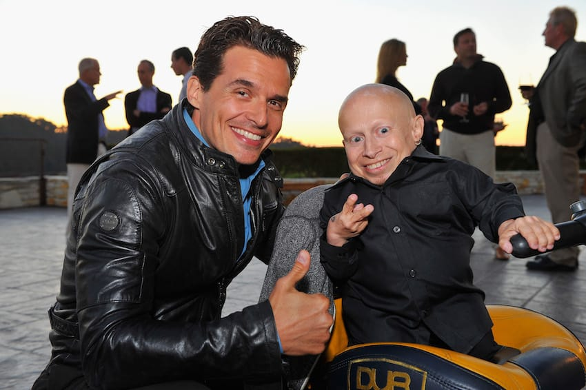 Antonio Sabato Jr. and Vern Troyer at the reception celebrating the Best Buddies Challenge: Hearst Castle at the Tehama Golf Club on September 7, 2012 in Carmel, California (Getty Images)