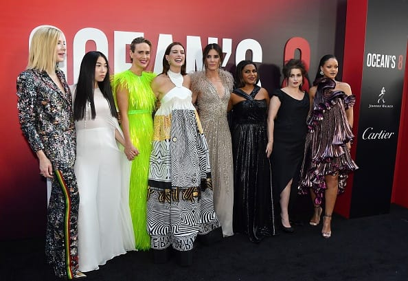 Cate Blanchett, Awkwafina, Sarah Paulson, Anne Hathaway, Sandra Bullock, Mindy Kaling, Helena Bonham Carter and Rihanna at the world premiere of Ocean's 8 (Getty Images)