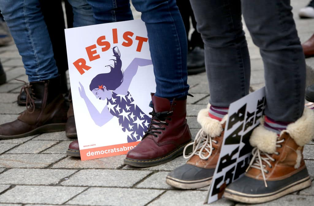 Activists participate in a demonstration for women's rights on January 21, 2018. (Getty Images)