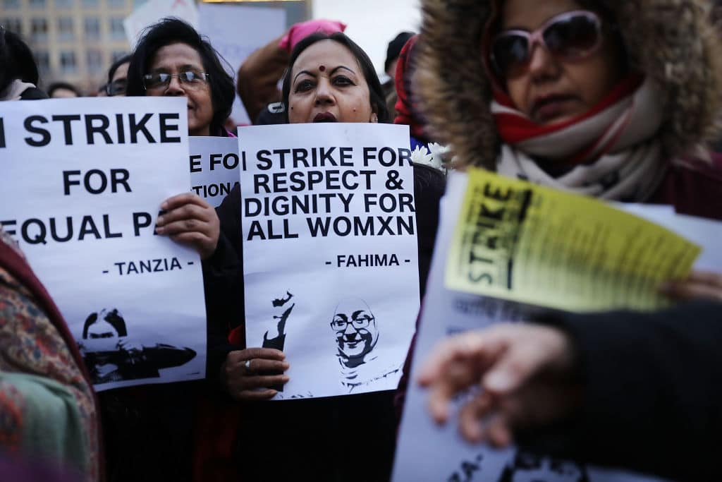 A group of women attend a rally and march in Washington Square Park for international Women's Day on March 8, 2018 in New York City. (Getty Images)