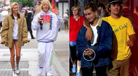 Hailey Baldwin flashes what looks like an engagement ring after reuniting with Justin Bieber