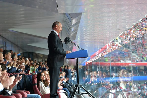 Russian President Vladimir Putin speaks during the opening ceremony prior to the 2018 FIFA World Cup Russia Group A match between Russia and Saudi Arabia at Luzhniki Stadium on June 14, 2018 in Moscow, Russia. (Photo by Pool/Getty Images)