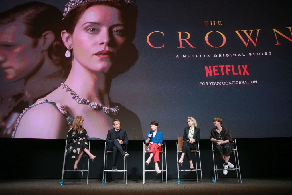 (L-R) Krista Smith, Peter Morgan, Claire Foy, Vanessa Kirby and Jane Petrie speak onstage during the For Your Consideration event for Netflix's 'The Crown' at Saban Media Center on April 27, 2018 in North Hollywood, California. (Photo by Rich Fury/Getty Images)