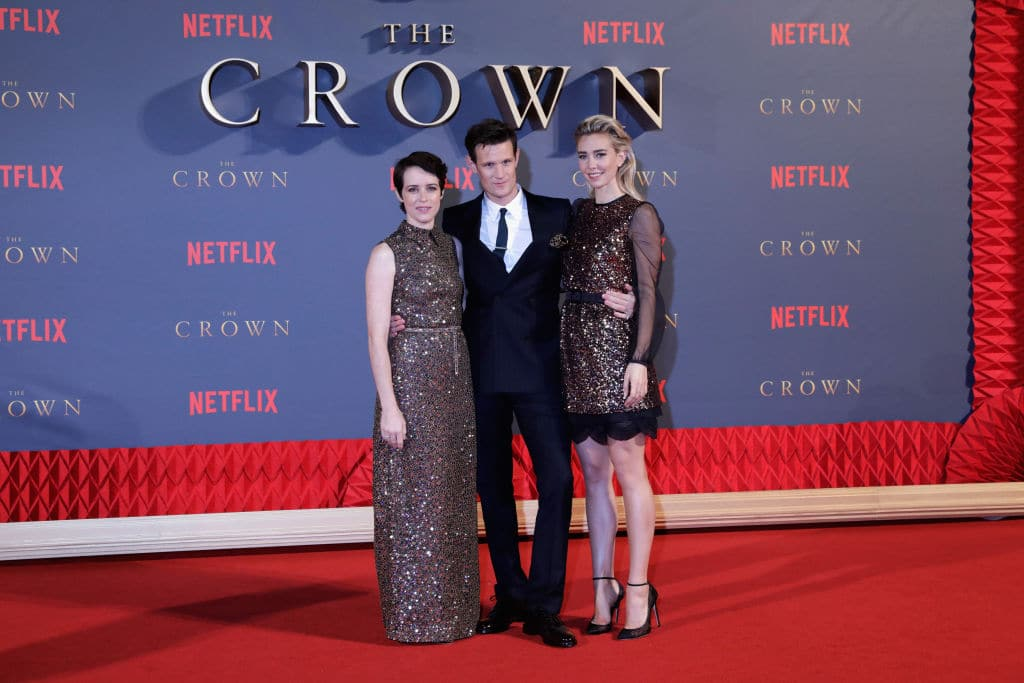 (L-R) Actors Claire Foy, Matt Smith and Vanessa Kirby attend the World Premiere of season 2 of Netflix 'The Crown' at Odeon Leicester Square on November 21, 2017 in London, England. (Photo by John Phillips/Getty Images)