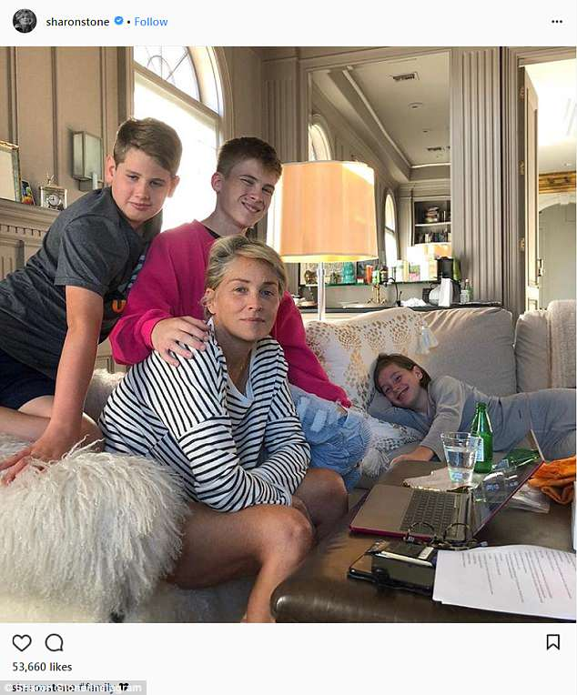 Sharon Stone and her family (Instagram)