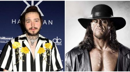 Smash hit: The Undertaker chokeslammed Post Malone at his concert