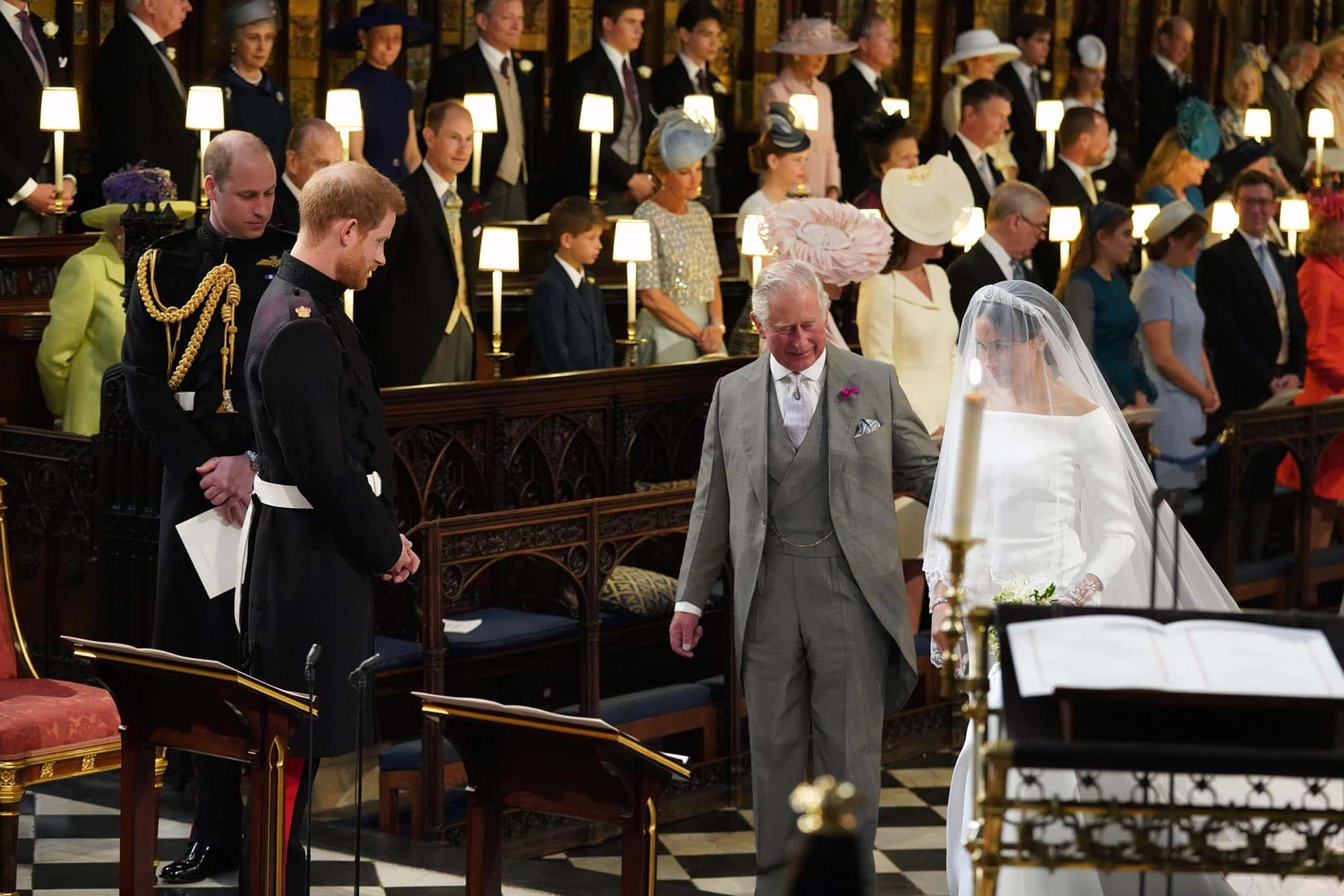 Prince Charles walking Meghan Markle down the aisle (Facebook)