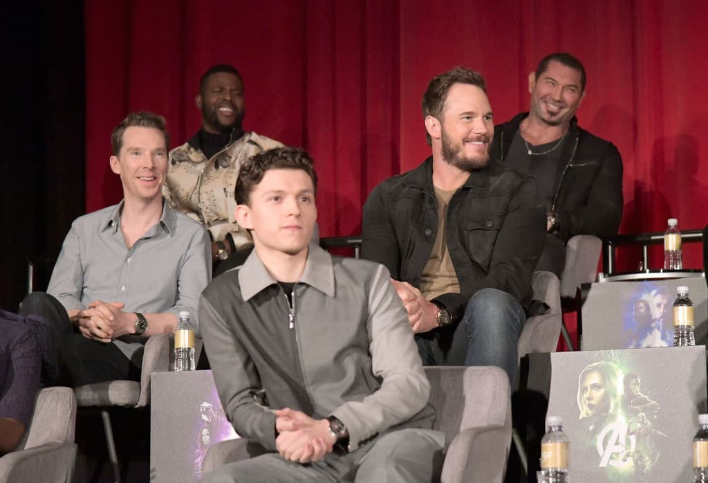Benedict Cumberbatch, Winston Duke,Tom Holland, Chris Pratt, and Dave Bautista attend the Global Press Conference at the Avengers: Infinity War Press Junket in Los Angeles, CA April 22nd, 2018 (Charley Gallay/Getty Images for Disney)