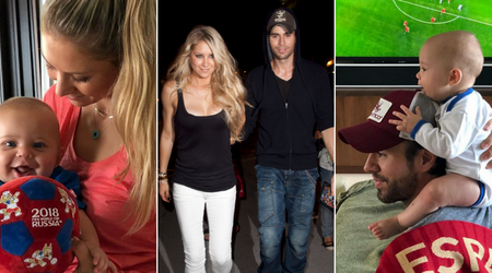 Anna Kournikova and Enrique Iglesias share adorable pictures of their six-month-old twins watching the World Cup