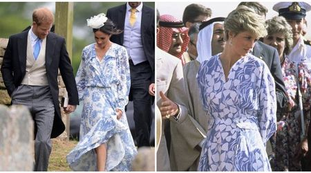 Royal fashion inspiration: Fans believe Duchess of Sussex's dress looked a lot like the one Princess Diana wore in 1986