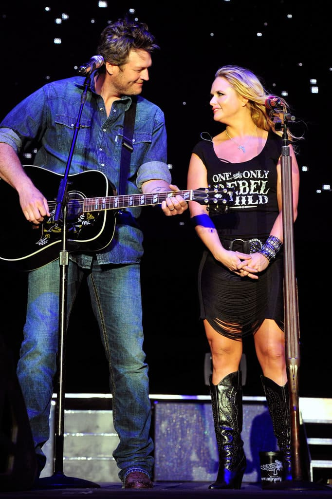 Musicians Blake Shelton and Miranda Lambert perform onstage during the Stagecoach Country Music Festival held at the Empire Polo Field on April 28, 2012 in Indio, California. (Photo by Frazer Harrison/Getty Images for Stagecoach)