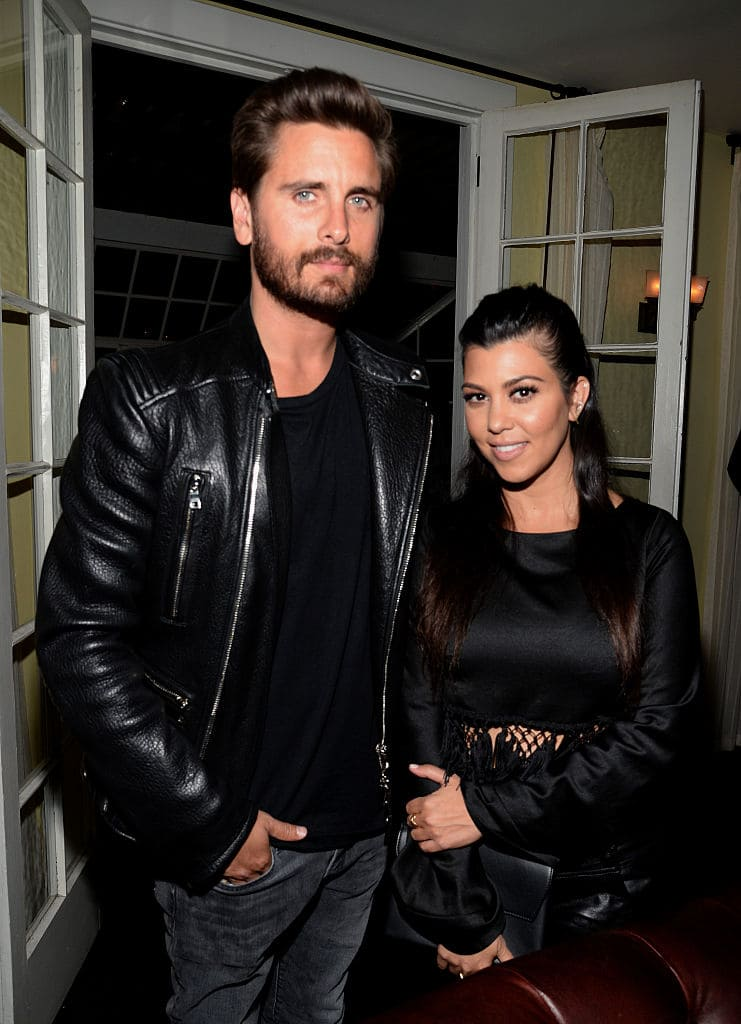 TV personalities Scott Disick (L) and Kourtney Kardashian attend Opening Ceremony and Calvin Klein Jeans' celebration launch of the #mycalvins Denim Series with special guest Kendall Jenner at Chateau Marmont on April 23, 2015 in Los Angeles, California. (Photo by Chris Weeks/Getty Images for Calvin Klein)