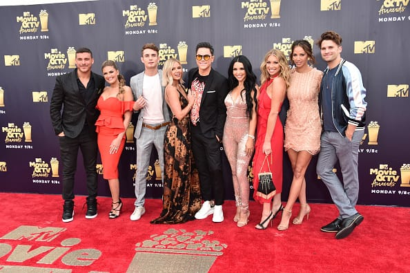(L-R) Jax Taylor, Brittany Cartwright, James Kennedy, Ariana Madix, Tom Sandoval, Scheana Marie, Stassi Schroeder, Kristen Doute, and Tom Schwartz of Vanderpump Rules attend the 2018 MTV Movie And TV Awards at Barker Hangar (Source: Getty Images)