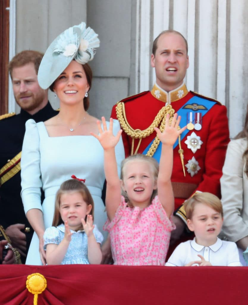 Prince Harry, Duke of Sussex, Catherine, Duchess of Cambridge, Princess Charlotte of Cambridge, Savannah Phillips, Prince George of Cambridge watch the flypast on the balcony of Buckingham Palace during Trooping The Colour on June 9, 2018 in London, England. The annual ceremony involving over 1400 guardsmen and cavalry, is believed to have first been performed during the reign of King Charles II. The parade marks the official birthday of the Sovereign, even though the Queen's actual birthday is on April 21st. (Photo by Chris Jackson/Getty Images)