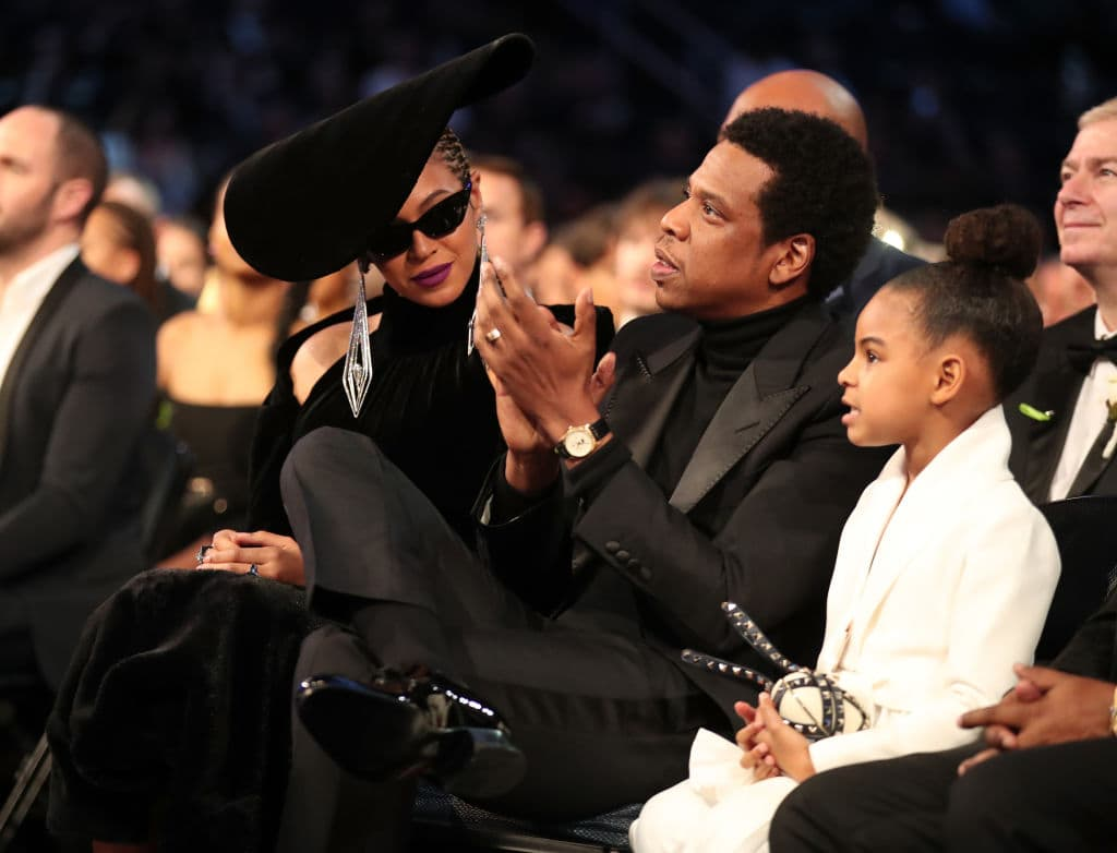 Recording artists Beyonce, Jay Z and daughter Blue Ivy Carter attend the 60th Annual GRAMMY Awards at Madison Square Garden on January 28, 2018 in New York City. (Photo by Christopher Polk/Getty Images for NARAS)