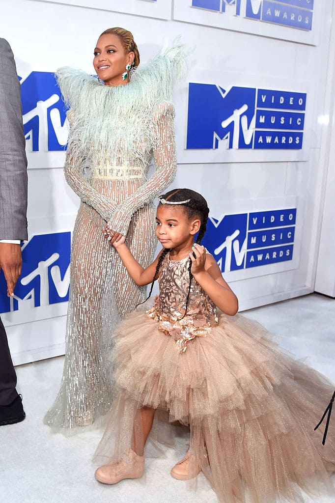 Beyonce and Blue Ivy attend the 2016 MTV Video Music Awards at Madison Square Garden on August 28, 2016 in New York City. (Photo by Larry Busacca/Getty Images)