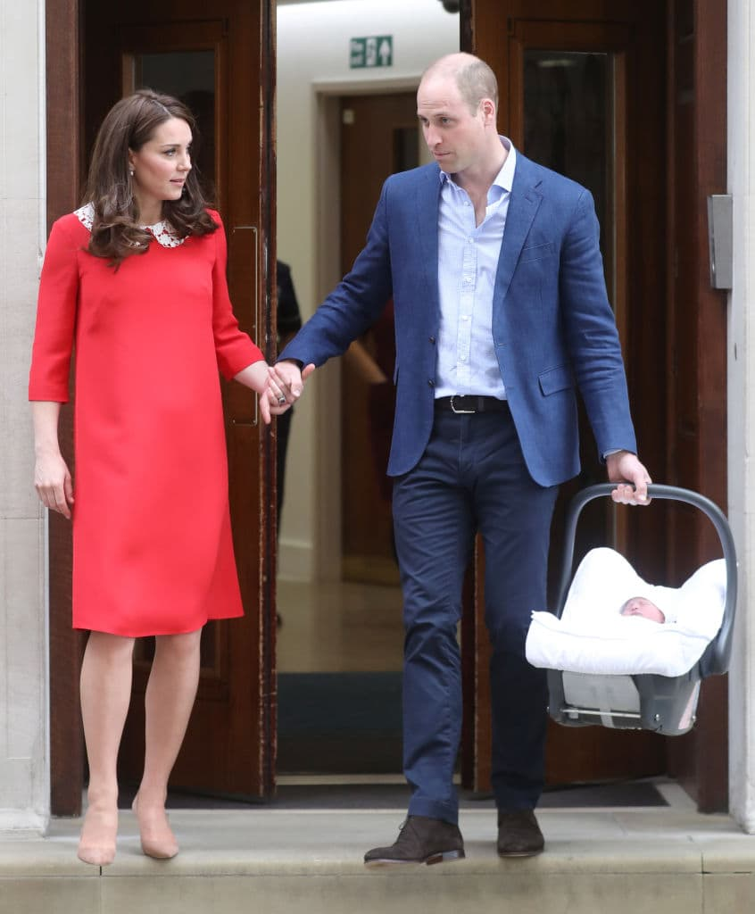 Kate Middleton and Prince William at St Mary's hospital with Prince Louis (Getty Images)