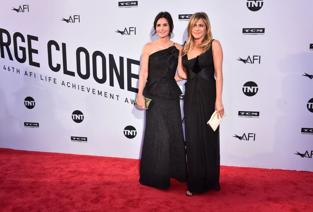 Courteney Cox (L) and Jennifer Aniston attend American Film Institute's 46th Life Achievement Award Gala Tribute to George Clooney at Dolby Theatre on June 7, 2018 in Hollywood, California. 390042 (Photo by Alberto E. Rodriguez/Getty Images for Turner )