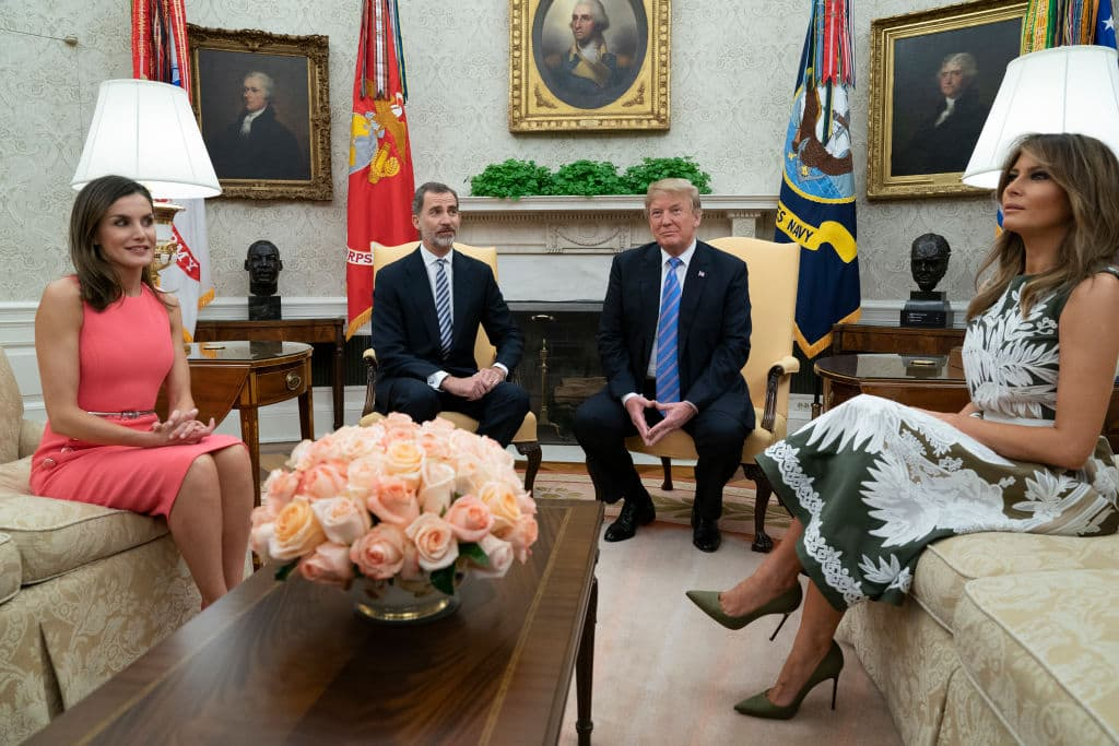 Queen Letizia of Spain, King Felipe VI of Spain, US President Donald Trump and First Lady Melania Trump sit during a meeting at The White House on June 19 (Getty Images)