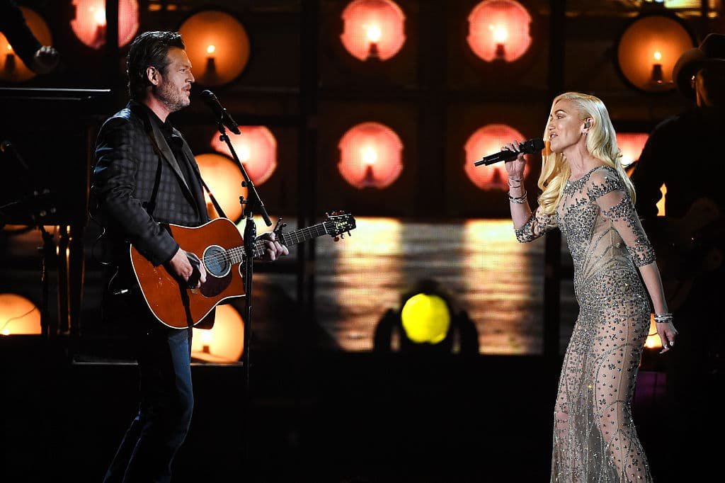 Blake and Gwen had met two years prior to when they started dating on the show 'The Voice' when Gwen appeared on season seven. (Source: Getty Images)