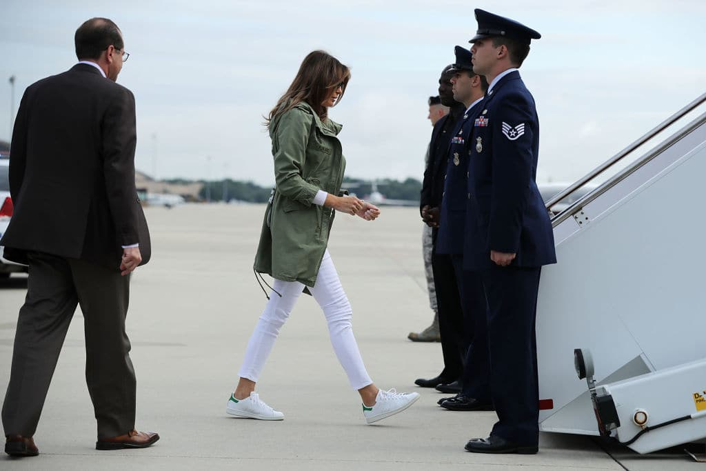 Melania was spotted sporting a jacket with a tone-deaf message sprawled across the back (Source: Chip Somodevilla/Getty Images)