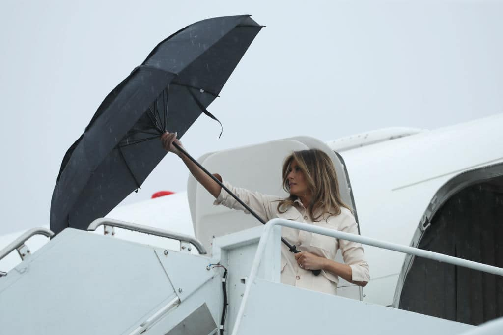Melania Trump, however, removed the jacket before she arrived in McAllen, Texas, to tour a detention center (Getty Images)