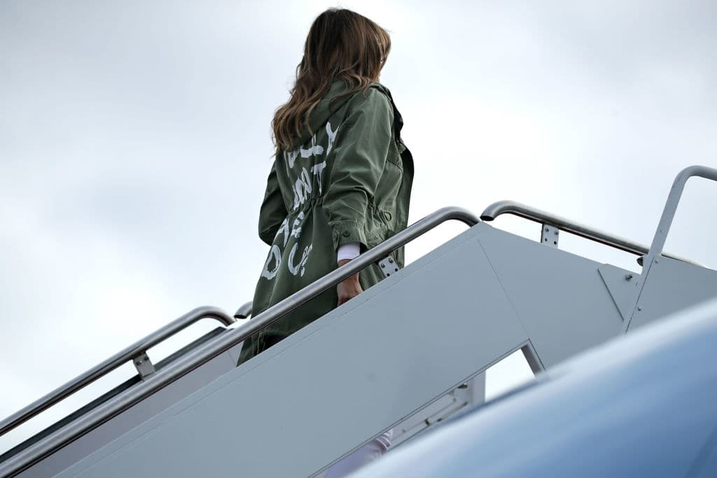 Melania Trump's khaki green jacket design is from Zara and costs $39 (Getty Images)