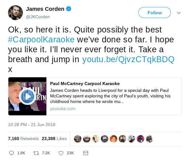 Corden took to Twitter to post about his Carpool Karaoke with McCartney. (Twitter)