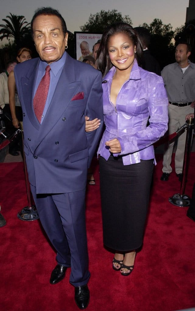 Singer/actress Janet Jackson and her father Joe Jackson attend the premiere of 'Nutty Professor II: The Klumps' July 24, 2000 at the Universal Amphitheater in Universal City, CA. (Photo by Chris Weeks/Liaison)