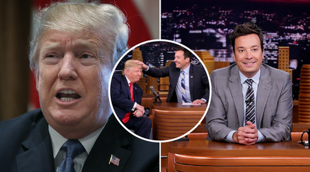 "Trump asks a ""whimpering"" Jimmy Fallon to ""man up"" after the talk show host regrets episode with messing the president's hair"
