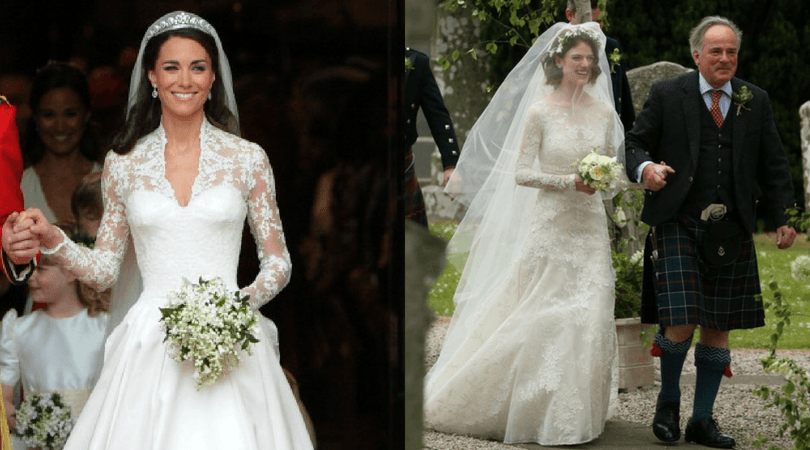 If you look closely, Rose's dress will give you flashbacks to Will and Kate's nuptials in 2011. (Getty Images/Twitter)